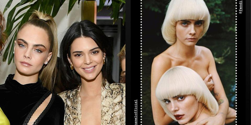 <p>Kendall and Cara, aka CaKe, reunited to star in a 2020 calendar for the brand Chaos, posing in some '70s inspired bleach blonde bowl cuts. Honestly, these looks are so out there, it took me a second to recognize them.</p>