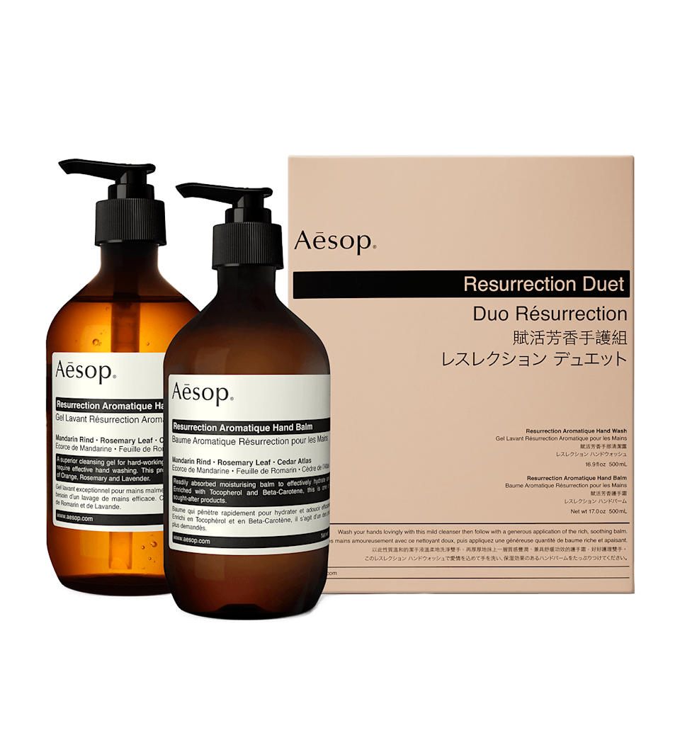 """There's soap, and then there's <em>soap.</em> Aesop's cult Resurrection Duo falls in the last category, and while she'll be drawn to its Insta-feed-friendly packaging, the nourishing ingredients make this set supremely beneficial for dry hands. $125, Revolve. <a href=""""https://www.revolve.com/aesop-resurrection-duet/dp/AESR-WU51/?d=Womens&_cclid=Google_Cj0KCQjw0Mb3BRCaARIsAPSNGpV_dYorm0TZLjBDYV0mMUh5y8Q6Ajeu-SYLeOEhF6FCFl0xKKWYFLEaAlCSEALw_wcB&countrycode=US&gclid=Cj0KCQjw0Mb3BRCaARIsAPSNGpV_dYorm0TZLjBDYV0mMUh5y8Q6Ajeu-SYLeOEhF6FCFl0xKKWYFLEaAlCSEALw_wcB"""" rel=""""nofollow noopener"""" target=""""_blank"""" data-ylk=""""slk:Get it now!"""" class=""""link rapid-noclick-resp"""">Get it now!</a>"""
