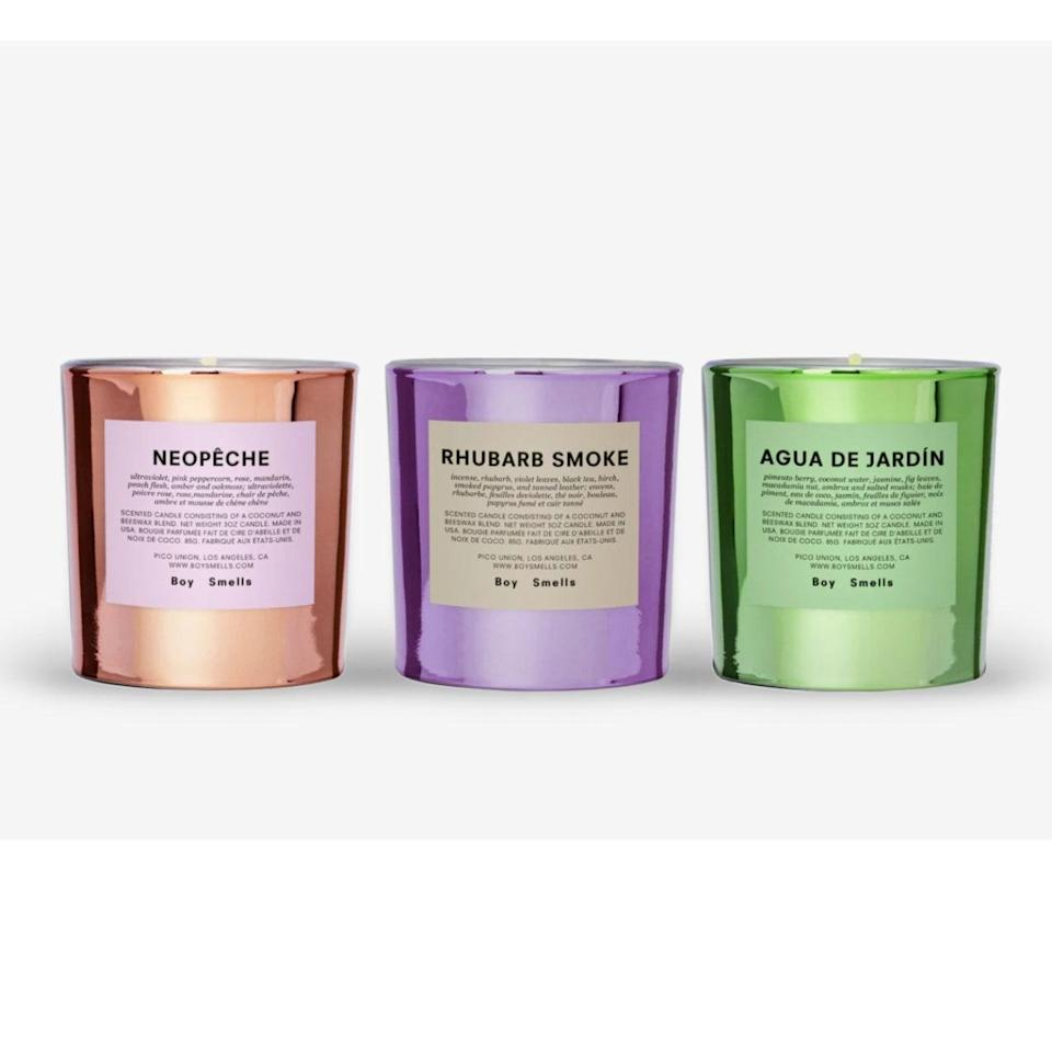 "If you're a financially conscious candle snob, then you're likely already a Boy Smells stan. The brand consistently delivers unique fragrance blends for your space, and its Hypernature collection is no exception. Housed in iridescent, metallic-hued jars, this trio of votives will bless your home with aromas that will transport you to the great outdoors.<br> <br> <strong>$58</strong> (<a href=""https://click.linksynergy.com/deeplink?id=MZ9491VLjxM&mid=1237&murl=https%3A%2F%2Fwww.nordstrom.com%2Fs%2Fboy-smells-hypernature-3-pack-votive-candle-set%2F5746872&u1=BestFragranceGifts"" rel=""nofollow noopener"" target=""_blank"" data-ylk=""slk:Shop Now"" class=""link rapid-noclick-resp"">Shop Now</a>)"