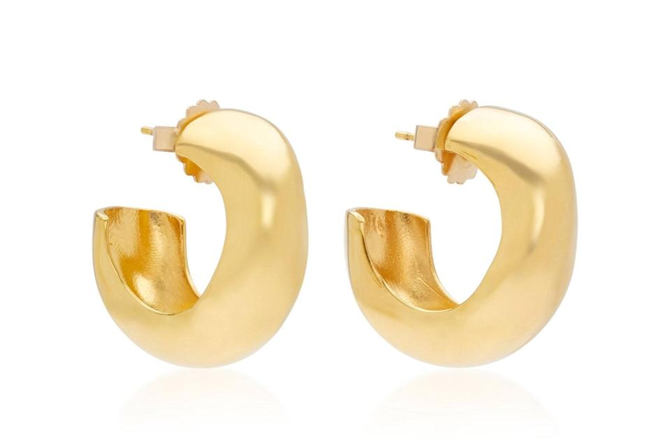 "$420, Moda Operandi. <a href=""https://www.modaoperandi.com/women/p/agmes/celia-gold-vermeil-hoops/386025"" rel=""nofollow noopener"" target=""_blank"" data-ylk=""slk:Get it now!"" class=""link rapid-noclick-resp"">Get it now!</a>"