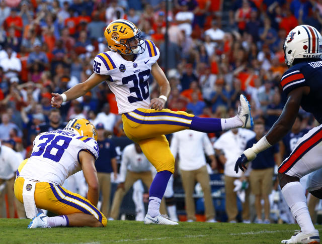 LSU place kicker Cole Tracy kicks the winning field goal to defeat Auburn in the final seconds Saturday. LSU fans are donating Assumption College, Tracy's alma mater, in appreciation for their new kicker. (AP Photo/Butch Dill)