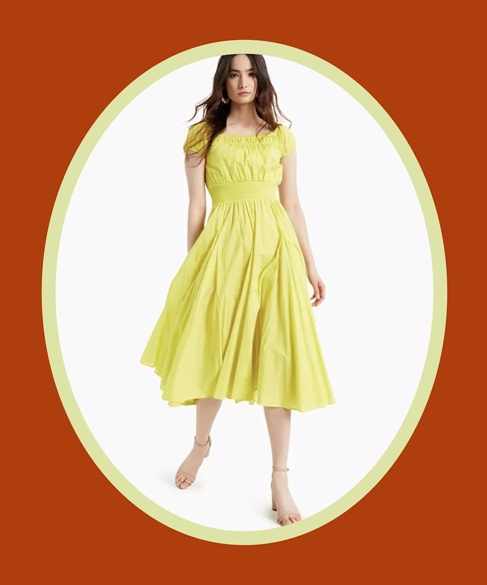 """<br><br><strong>INC International Concepts</strong> Cotton Smocked-Waist Midi Dress, $, available at <a href=""""https://go.skimresources.com/?id=30283X879131&url=https%3A%2F%2Fwww.macys.com%2Fshop%2Fproduct%2Finc-cotton-smocked-waist-midi-dress-created-for-macys%3FID%3D12002412%26CategoryID%3D68514%26swatchColor%3DLime%2520Shock%26ranMID%3D3184%26ranEAID%3DQFGLnEolOWg%26ranSiteID%3DQFGLnEolOWg-8HJY4QaeqRduyccPXQoZ_A%26LinkshareID%3DQFGLnEolOWg-8HJY4QaeqRduyccPXQoZ_A%26m_sc%3Daff%26PartnerID%3DLINKSHARE%26cm_mmc%3DLINKSHARE-_-5-_-63-_-MP563%26LSNSUBSITE%3DOmitted_QFGLnEolOWg"""" rel=""""nofollow noopener"""" target=""""_blank"""" data-ylk=""""slk:Macy's"""" class=""""link rapid-noclick-resp"""">Macy's</a>"""