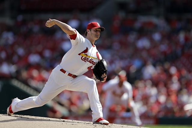 St. Louis Cardinals starting pitcher Shelby Miller throws during the first inning of a baseball game against the Washington Nationals Wednesday, Sept. 25, 2013, in St. Louis. (AP Photo/Jeff Roberson)