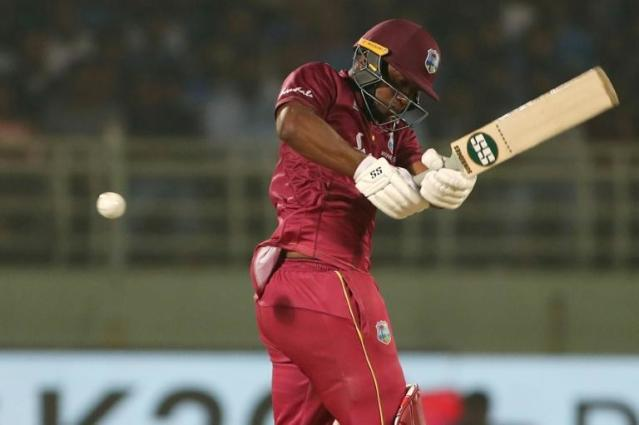Master blaster: Evin Lewis of the West Indies made his third ODI century on Sunday (AFP Photo/STR)