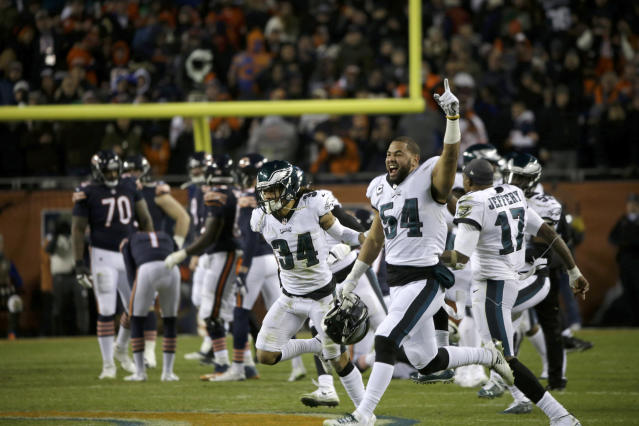 Philadelphia Eagles players celebrate after Chicago Bears kicker Cody Parkey misses a field goal in the final minute during the second half of an NFL wild-card playoff football game Sunday, Jan. 6, 2019, in Chicago. The Eagles won 16-15. (AP Photo/David Banks)