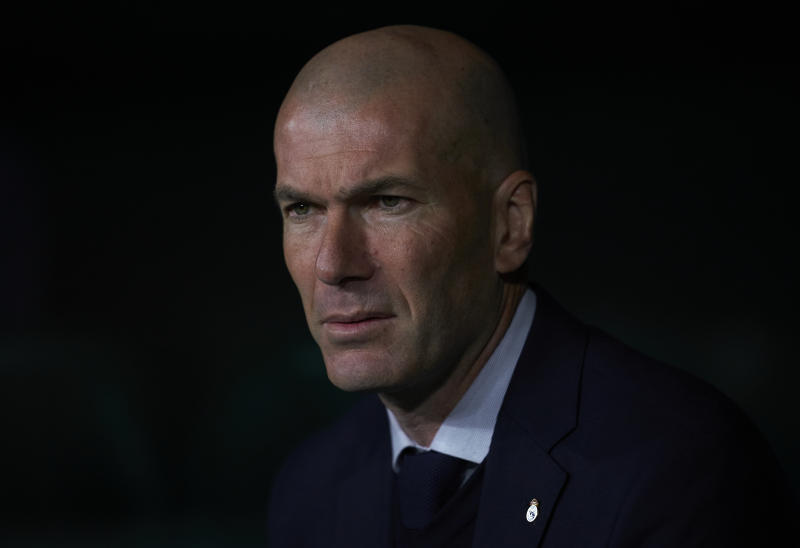 SEVILLE, SPAIN - MARCH 08: Zinedine Zidane, Manager of Real Madrid looks on prior to the Liga match between Real Betis Balompie and Real Madrid CF at Estadio Benito Villamarin on March 08, 2020 in Seville, Spain. (Photo by Manuel Queimadelos/Quality Sport Images/Getty Images)