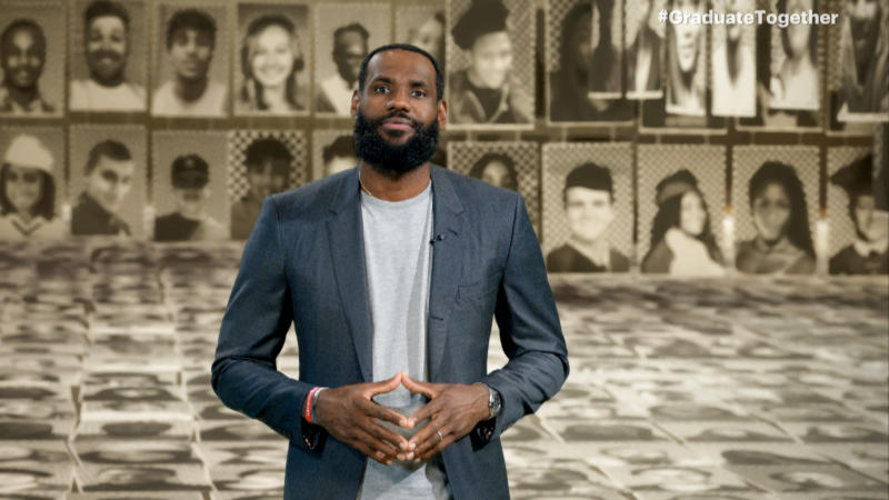 UNSPECIFIED - MAY 16: In this screengrab, LeBron James speaks during Graduate Together: America Honors the High School Class of 2020 on May 16, 2020. (Photo by Getty Images/Getty Images for EIF & XQ)