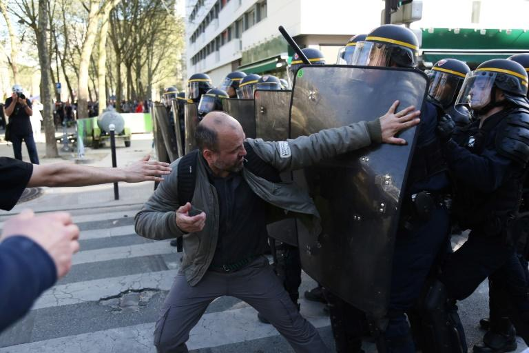 Striking rail workers, civil servants and students demonstrated across France against Emmanuel Macron's public sector reforms but in markedly lower numbers than a month ago as unions struggle to rally the president's opponents