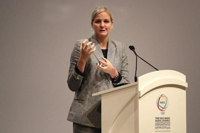 Kirsty Coventry, Chair of the IOC Athletes' Commission speaks during the XXIV ANOC General Assembly on October 17, 2019 in Doha, Qatar. (Photo by Bryn Lennon/Getty Images for ANOC)