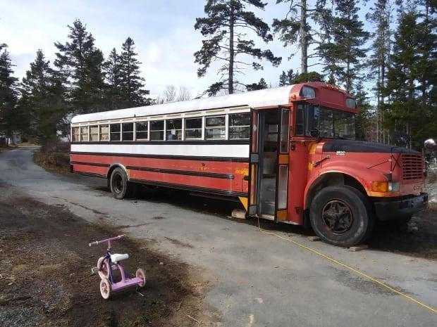 Hannah Verra, who lives in West Dublin, N.S., bought this 25-year-old school bus for $2,500 earlier this year. After months of work, she's getting ready to move in at the end of the month. (Hannah Verra - image credit)