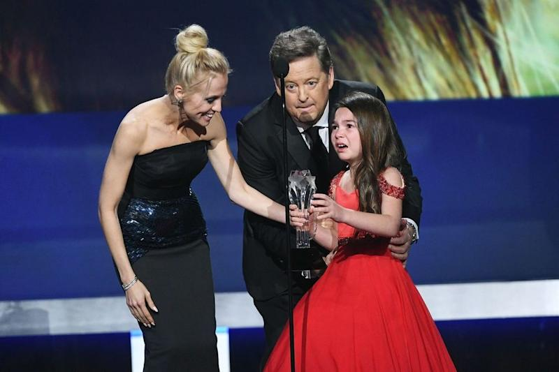 Brooklynn Prince accepting the award for best young actress at the Critics' Choice Awards.