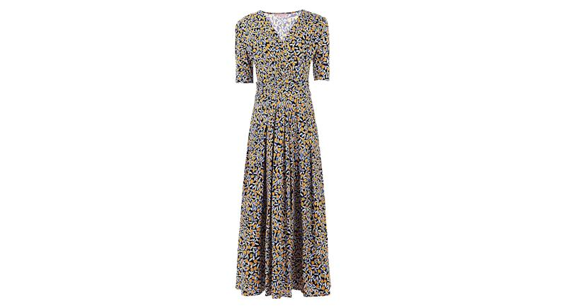 Jolie Moi Half Sleeve Wrap Front Maxi Dress
