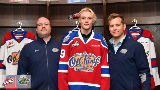 Caleb Reimer, centre, was drafted to the Edmonton Oil Kings in 2019. The 16-year-old died Saturday in a crash that killed two other people. (WHL/Twitter - image credit)