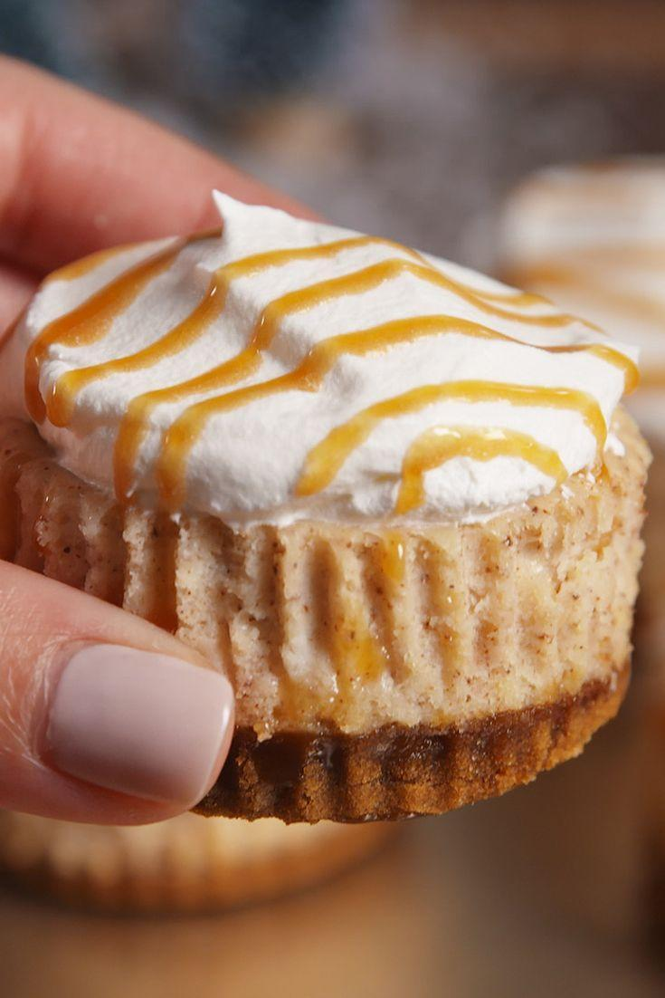 """<p>Turn your favorite holiday drink into these bite-sized cheesecakes.</p><p>Get the recipe from <a href=""""https://www.delish.com/cooking/recipe-ideas/recipes/a50559/mini-eggnog-cheesecakes-recipe/"""" rel=""""nofollow noopener"""" target=""""_blank"""" data-ylk=""""slk:Delish"""" class=""""link rapid-noclick-resp"""">Delish</a>.</p>"""