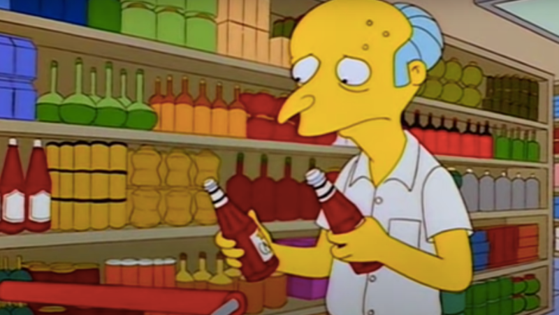 Screenshot of Mr. Burns from The Simpsons worryingly holding ketchup bottle