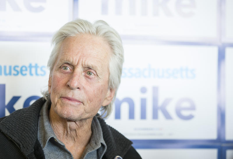 MEDFORD - FEBRUARY 23: Actor Michael Douglas campaigned for Michael Bloomberg during the opening of Mike's campaign office in Medford, MA on Feb. 23, 2020. Douglas told Bloomberg supporters at the opening of the Medford field office that day just how highly he thinks of Bloomberg, the former mayor of New York City and a current candidate in the Democratic primary. (Photo by Blake Nissen for The Boston Globe via Getty Images)