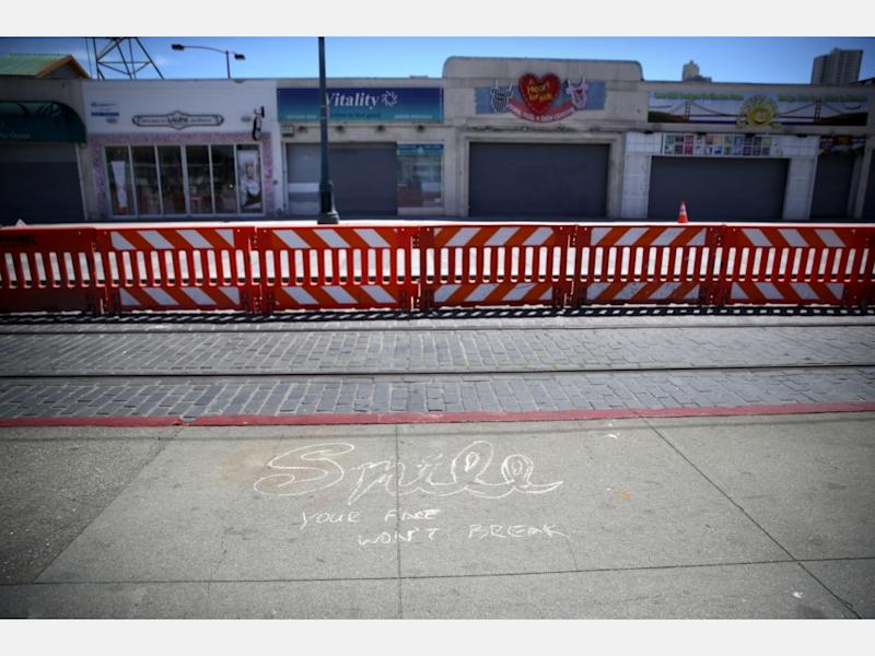 Businesses sit empty at Fisherman's Wharf on April 27, 2020 in San Francisco. Officials from several counties in the San Francisco Bay Area have extended the coronavirus shelter in place order through May.