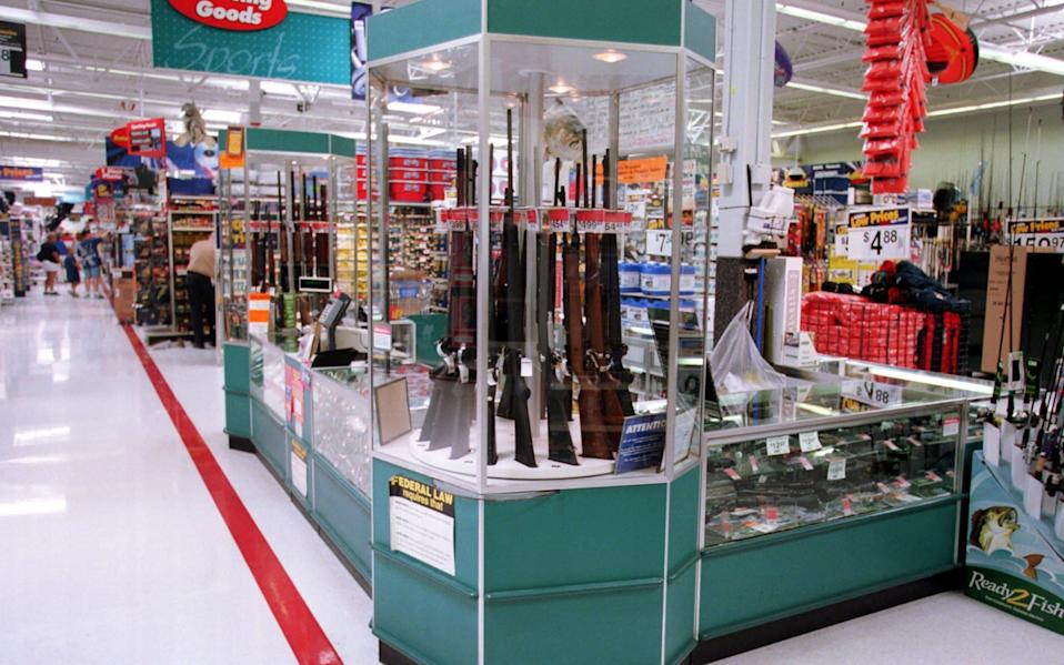 Guns for sale at Walmart store