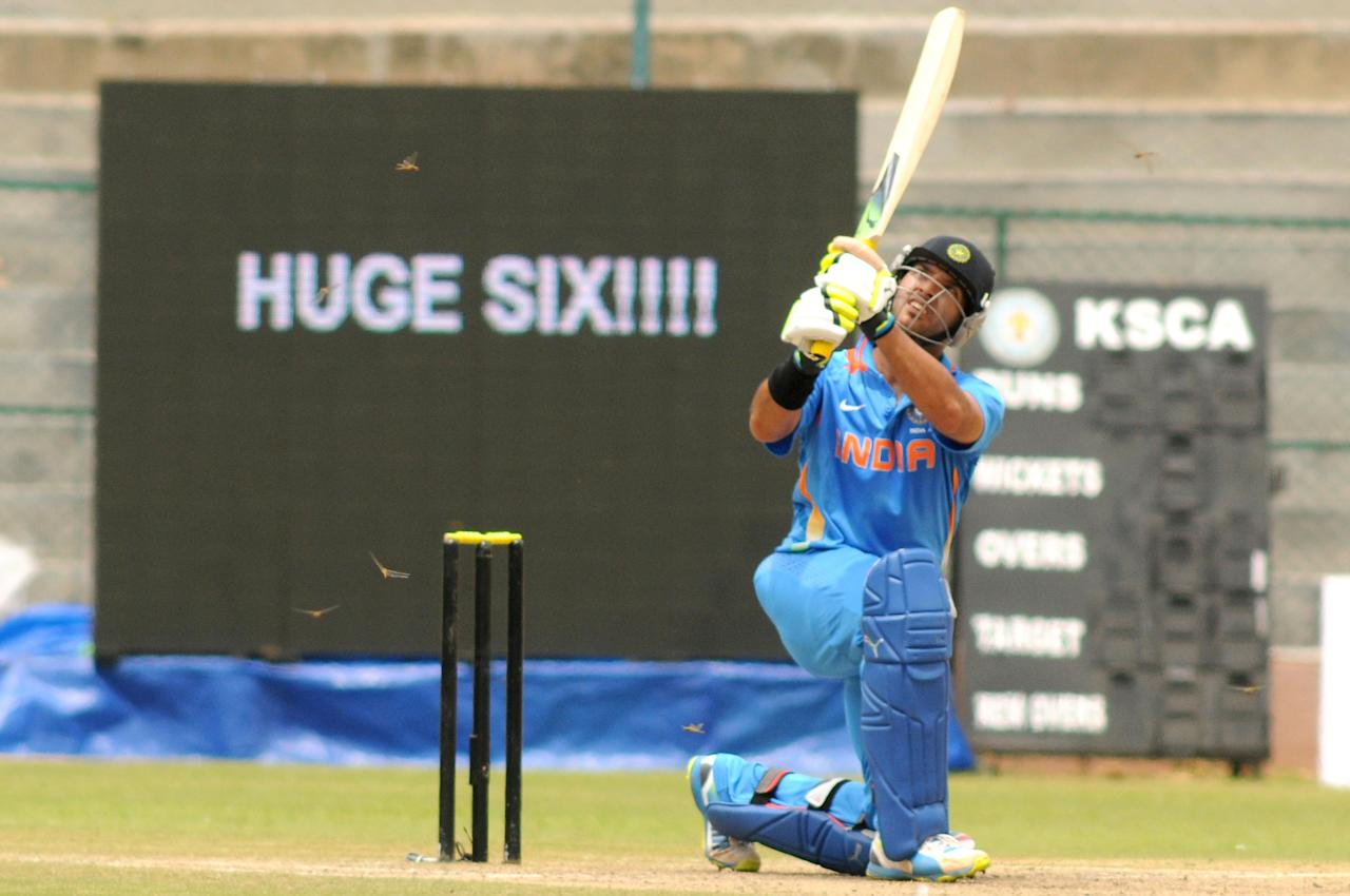 Indian A team sipper Yuvraj Singh in action against West Indies A team, during  India A team v/s West Indies A team unofficial T-20 cricket match at Chinnaswamy Stadium, in Bangalore on Saturday 21st of Sept. 2013. (Photo: IANS)