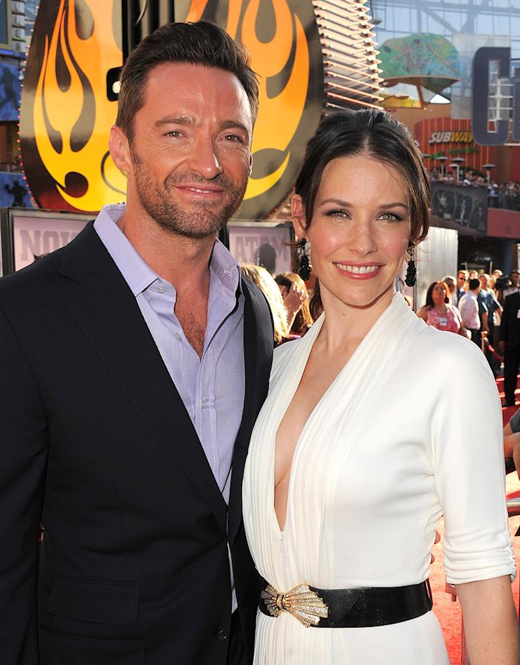 """<a href=""""http://movies.yahoo.com/movie/contributor/1800354816"""">Hugh Jackman</a> and <a href=""""http://movies.yahoo.com/movie/contributor/1808573060"""">Evangeline Lilly</a> at the Los Angeles premiere of <a href=""""http://movies.yahoo.com/movie/1810130487/info"""">Real Steel</a> on October 2, 2011."""