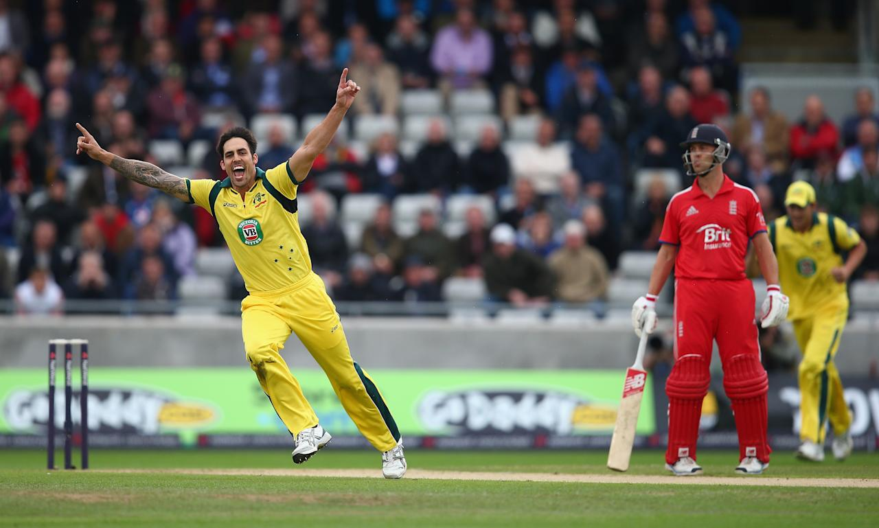 BIRMINGHAM, ENGLAND - SEPTEMBER 11:  Mitchell Johnson of Australia celebrates dismissing Kevin Pietersen of England during the third NatWest One Day International Series match between England and Australia at Edgbaston on September 11, 2013 in Birmingham, England.  (Photo by Clive Mason/Getty Images)