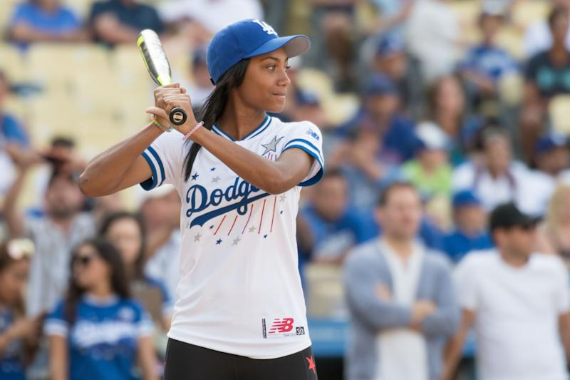 Mo'ne Davis in action during the Hollywood Stars celebrity softball game played at Dodger Stadium in Los Angeles, CA. (Photo by Brian Rothmuller/Icon Sportswire via Getty Images)