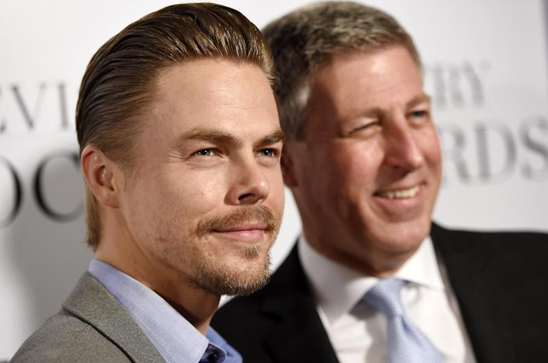 Honoree Derek Hough, left, and his father Bruce pose together at the 2016 Television Industry Advocacy Awards at the Sunset Tower Hotel on Friday, Sept. 16, 2016, in West Hollywood, Calif. (Photo by Chris Pizzello/Invision/AP)