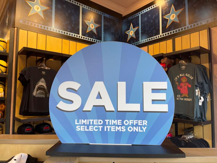 sale sign at a merchandise location at universal studio orlando