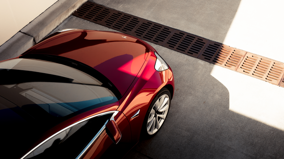 An overhead shot of a Tesla Model 3