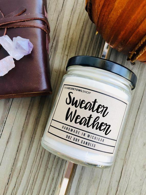 """<p><strong>TheSecretOwlShop</strong></p><p>etsy.com</p><p><strong>$38.00</strong></p><p><a href=""""https://go.redirectingat.com?id=74968X1596630&url=https%3A%2F%2Fwww.etsy.com%2Flisting%2F717108147%2Fsweater-weather-candle-balsam-candle&sref=https%3A%2F%2Fwww.countryliving.com%2Fdiy-crafts%2Fg2655%2Fseasonal-candles%2F"""" rel=""""nofollow noopener"""" target=""""_blank"""" data-ylk=""""slk:Shop Now"""" class=""""link rapid-noclick-resp"""">Shop Now</a></p><p>This made-in-Michigan soy candle, with wintergreen, pine, fir balsam, cinnamon, and spice, will have you reaching for your warmest cardigan </p>"""