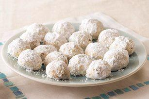 """These pretty cookies look like they're covered in snow, but feel a bit more sophisticated than the standard snowball cookie. Learn how to create them at <a href=""""http://www.kraftrecipes.com/recipes/mexican-wedding-cookies-91976.aspx"""" target=""""_blank"""">Kraft Recipes</a>."""