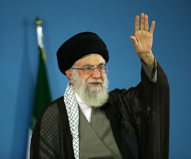 Iran's supreme leader Ayatollah Ali Khamenei addresses supporters in Tehran, on September 9, 2015