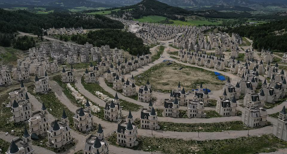 Hundreds of castle-like villas and houses are seen unfinished at the Burj Al Babas housing development on May 21, 2019 in Mudurnu, Turkey.