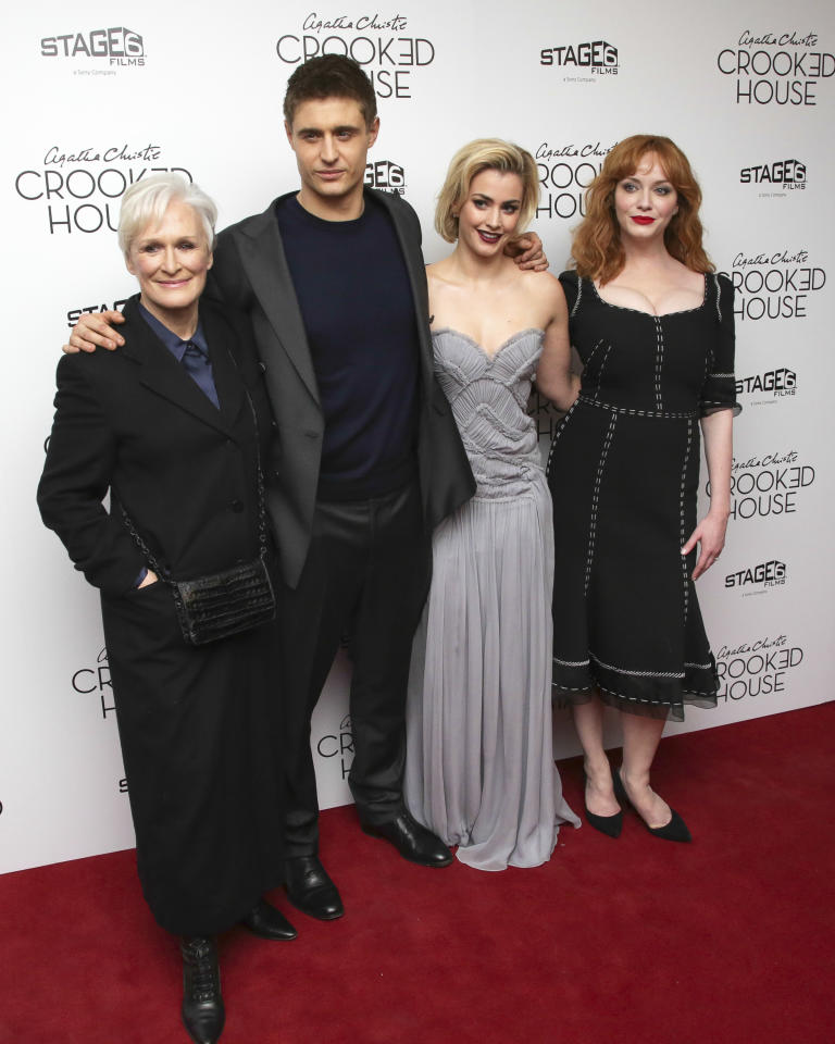 """Actors Glenn Close, from left, Max Irons, Stefanie Martini and Christina Hendricks attend the premiere of """"Crooked House"""" at Metrograph on Wednesday, Dec. 13, 2017, in New York. (Photo by Brent N. Clarke/Invision/AP)"""