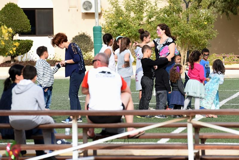 Western expatriates participate in leisure activities at a compound in the Saudi capital Riyadh, on February 11, 2017