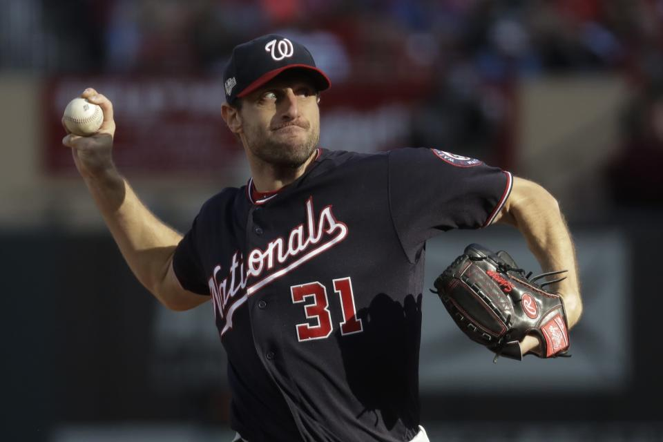 Washington Nationals starting pitcher Max Scherzer during the fourth inning of Game 2 of the baseball National League Championship Series against the St. Louis Cardinals Saturday, Oct. 12, 2019, in St. Louis. (AP Photo/Mark Humphrey)