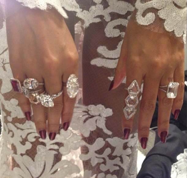 Bey posted a seriously massive collection of Lorraine Schwartz rings on Instagram.