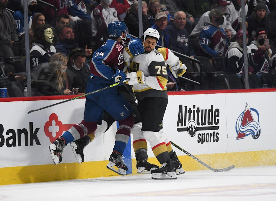 Golden Knights forward Ryan Reaves could be looking at supplemental discipline after he went berserk during Vegas's Game 1 loss to the Avalanche. (Getty)