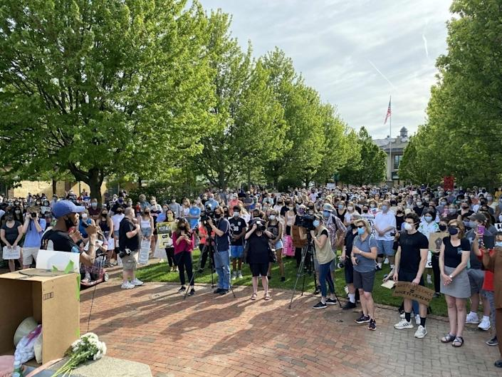Hundreds of people attended a demonstration in support of the Black Lives Matter movement and a vigil for George Floyd June 3 at Market Square in Lake Forest. (Andrew Walter)