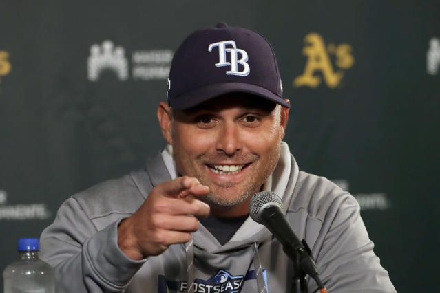 Tampa Bay Rays manager Kevin Cash speaks at a news conference before baseball practice in Oakland, Calif., Tuesday, Oct. 1, 2019. The Rays are scheduled to face the Oakland Athletics in an American League wild-card game Wednesday, Oct. 2. (AP Photo/Jeff Chiu)