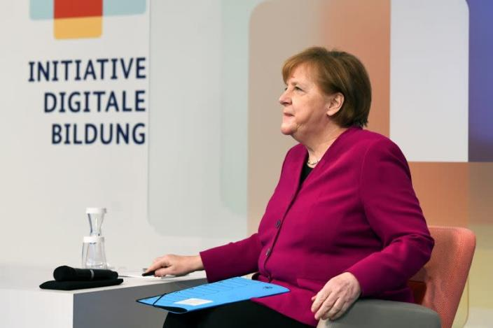 German Chancellor Merkel attends a conference about virtual education, in Berlin