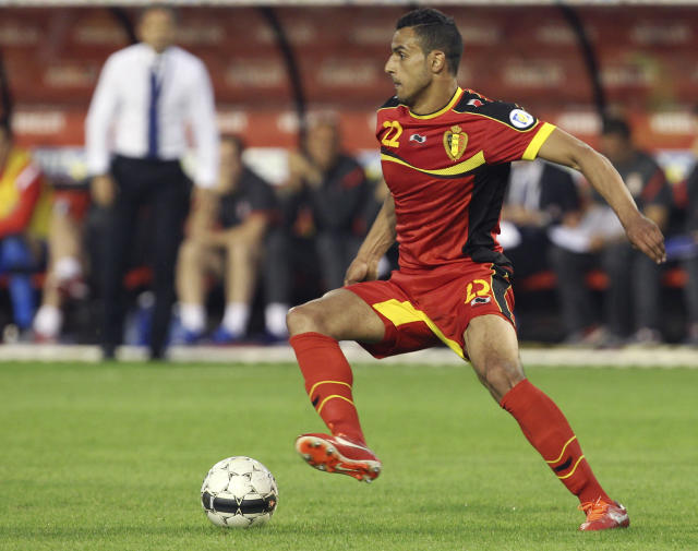 Belgium's Nacer Chadli controls the ball during their World Cup 2014 Group A qualifying soccer match against Serbia at the King Baudouin stadium in Brussels, Friday, June 7, 2013. (AP Photo/Yves Logghe)