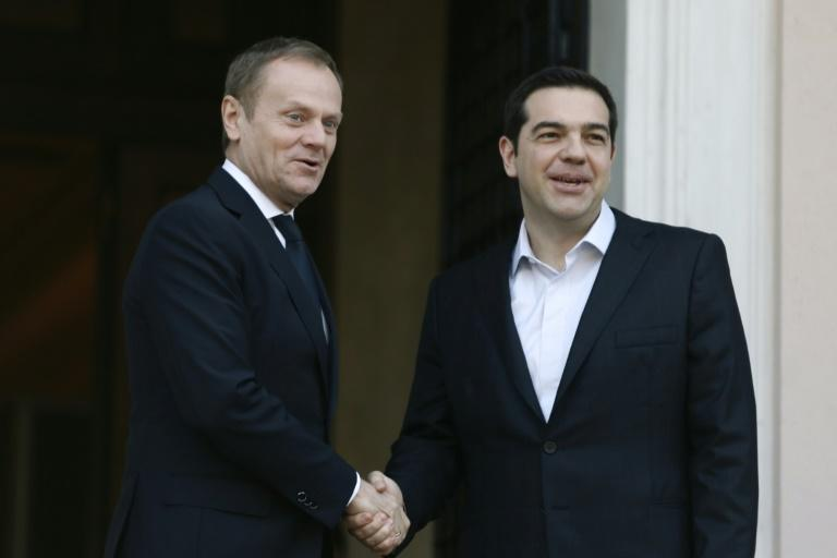European Council President Donald Tusk (left) held talks with Greek Prime Minister Alexis Tsipras in Athens, on March 3, 2016