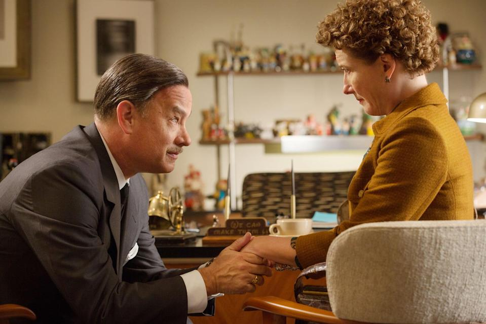 """<p><strong>What it's about:</strong> """"Spurred on by a promise he made to his daughters, Walt Disney embarks on what would become a 20-year quest to obtain the movie rights to <strong>Mary Poppins.</strong> The author, P.L. Travers, proves to be an uncompromising curmudgeon who has no intention of letting her beloved characters become mangled in the Hollywood machine. However, when the books stop selling and she finds herself in need of money, Travers reluctantly agrees to consider Disney's proposition.""""</p> <p><strong>Ages it's best suited to:</strong> 12 and up</p> <p><a href=""""https://www.netflix.com/title/70283202"""" class=""""link rapid-noclick-resp"""" rel=""""nofollow noopener"""" target=""""_blank"""" data-ylk=""""slk:Watch Saving Mr. Banks here!"""">Watch <strong>Saving Mr. Banks</strong> here!</a></p>"""