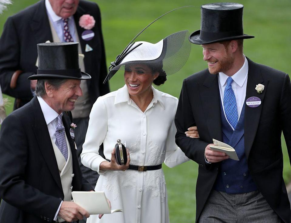 "<p>The newlyweds were all smiles at <a href=""https://www.townandcountrymag.com/society/tradition/a21614131/meghan-markle-royal-ascot-2018-kate-middleton-comparison/"" rel=""nofollow noopener"" target=""_blank"" data-ylk=""slk:Meghan's first Royal Ascot in late June."" class=""link rapid-noclick-resp"">Meghan's first Royal Ascot in late June.</a></p>"