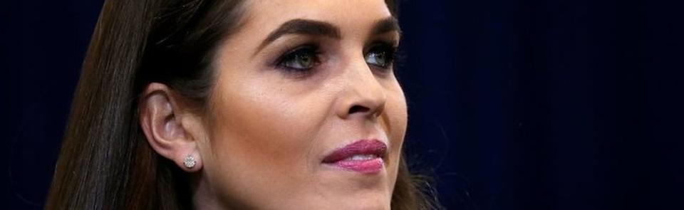 Republican presidential nominee Donald Trump's press secretary Hope Hicks is pictured during a campaign event in Phoenix, Arizona.