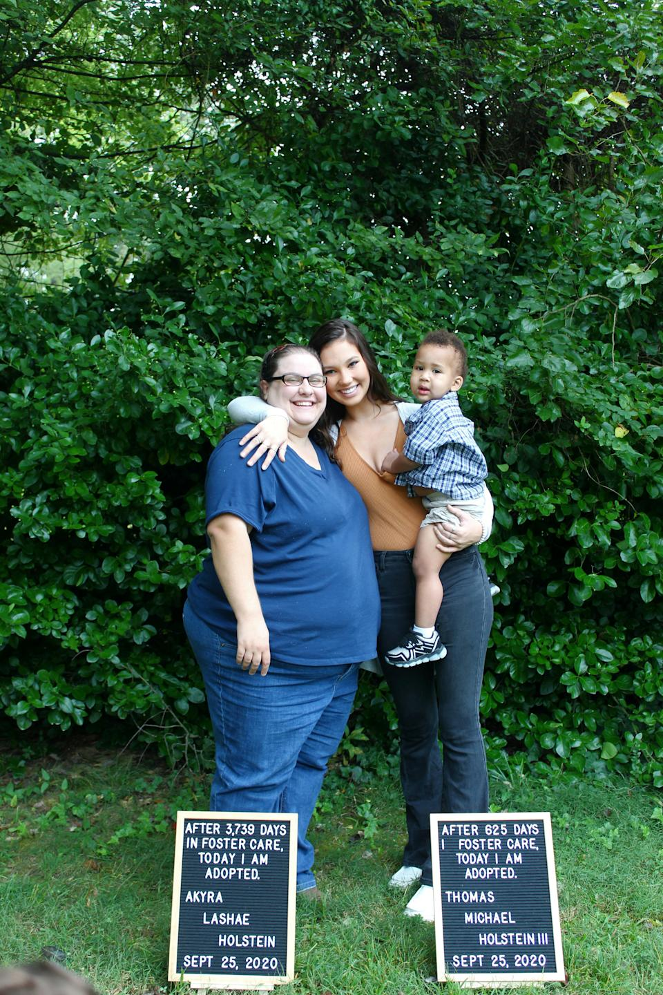 Akyra with her adopted mum Katie and adopted brother Michael. (SWNS)