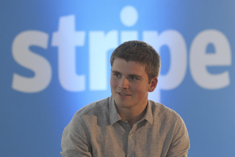 Stripe's co-founder, John Collison, delivers a speech in Paris during the commercial launch of his company in France on June 7, 2016. Stripe is an online payments company. / AFP / Jacques DEMARTHON (Photo credit should read JACQUES DEMARTHON/AFP/Getty Images)