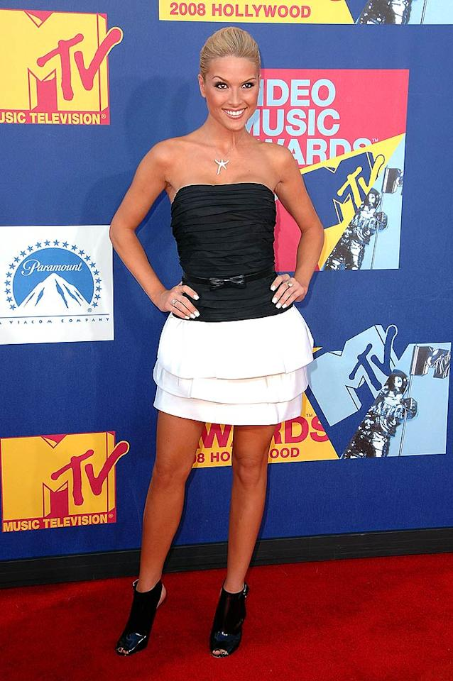 """Best: Although we're not quite sure why former Miss USA Tara Conner was at the VMAs, she looked hot in her black and white mini. Steve Granitz/<a href=""""http://www.wireimage.com"""" target=""""new"""">WireImage.com</a> - September 7, 2008"""