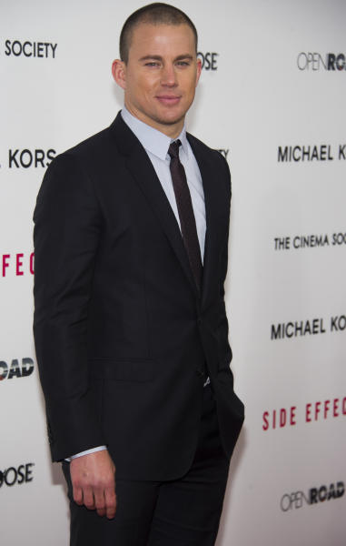 """Channing Tatum attends the premiere of """"Side Effects"""" hosted by the Cinema Society and Open Road Films on Thursday, Jan. 31, 2013 in New York. (Photo by Charles Sykes/Invision/AP)"""
